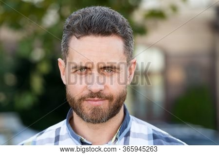 Strong Willed Man. Man Well Groomed Facial Hair Beard And Mustache. Barber Shop Concept. Barber Hair