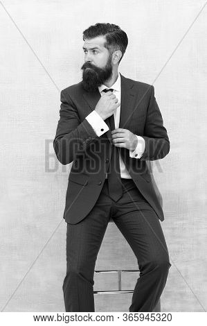 For Formal Occasion. Business Fashion Model Fix Tie. Bearded Man With Fashion Look. Hipster In Class