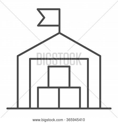 Warehouse Thin Line Icon, Transportation Delivery Service Symbol, Storage Building With Flag Vector