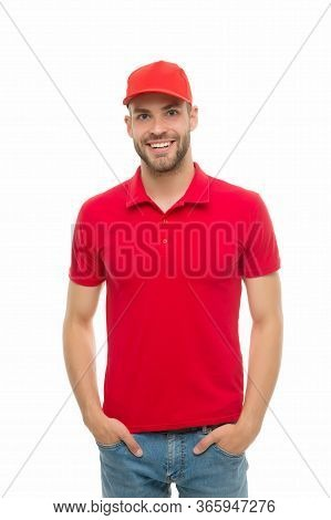 Handsome And Stylish. Happy Hipster Isolated On White. Unshaven Man In Trendy Hipster Style. Hipster
