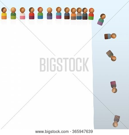 Lemming Like Toy Figures Jumping Off A Cliff. Many People Do The Same Thing As Someone Else Even Tho
