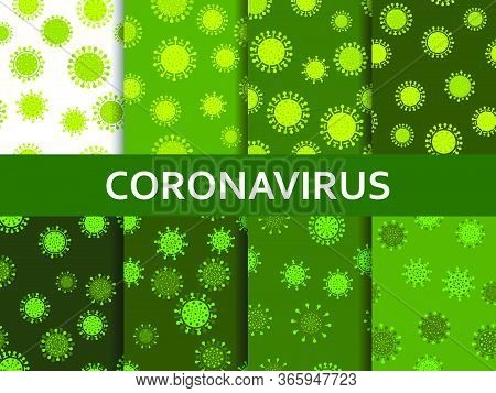Virus Cell Set Of Seamless Pattern. Coronavirus Disease Covid-19. Middle East Respiratory Syndrome.