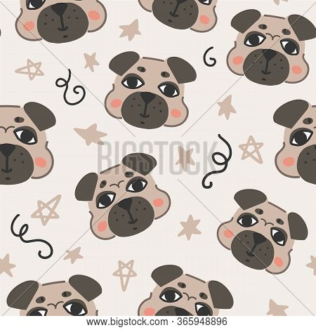 Funny Seamless Pattern With Cute Pug Dogs And Stars For Wallpaper, Wrapping Paper, Coverage, Textile