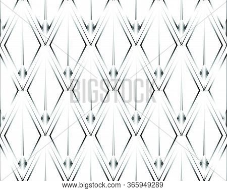 Art Deco Isolated Silver Seamless Pattern. Art Deco Rhombuses Pattern On A White Background. Stock V