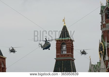 Moscow, Russia - May 9, 2020:mi-26 Military Transport And Mi-8amtsh Multi-purpose Helicopters Open A