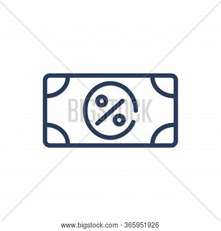 Currency Banknote And Percent Sign Thin Line Icon. Money, Purchase, Automobile Isolated Outline Sign