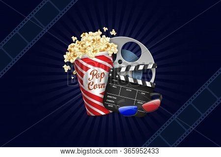 Modern Cinema Background. Film Strip Frame With Popcorn Box, Film Roll, Clapper, 3d Glasses. Film Te