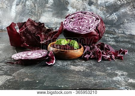 Pickled Red Cabbage And Chopped Fresh Red Cabbage. Prepare Sliced Vegetable For Cooking Purple Cabba