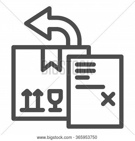 Return Delivery Box With Report Document Line Icon, Delivery And Logistics Symbol, Shipping Box With