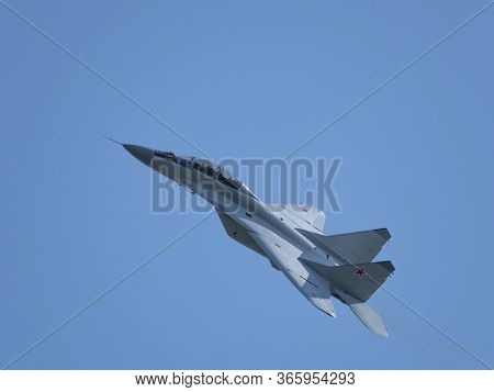 Moscow Russia Zhukovsky Airfield 31 August 2019: Aerobatic Mig-29 Perfoming Demonstration Flight Of