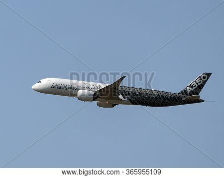 Moscow Russia Zhukovsky Airfield 31 August 2019: Passenger Aircraft Airbus A350 In The Demonstration
