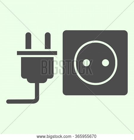 Socket With Plug Solid Icon. Unplugged Cable From Jack Socket Glyph Style Pictogram On White Backgro