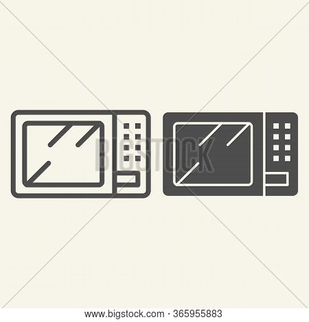 Microwave Line And Solid Icon. Board Microwave Oven Symbol, Outline Style Pictogram On Beige Backgro
