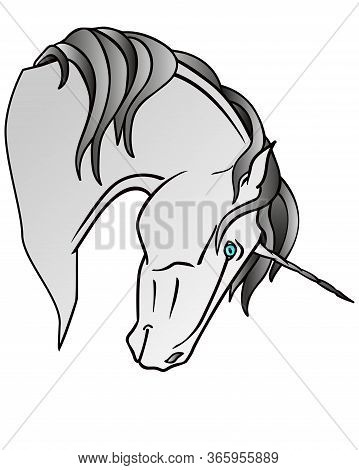 Silver Unicorn With Blue Eyes - Full Color Vector Illustration. The Head Of A Unicorn - A Mythical B
