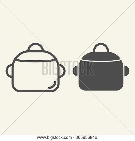 Pan Line And Solid Icon. Steel Saucepan Symbol, Outline Style Pictogram On Beige Background. Cooking