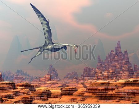 Quetzalcoatlus Flying Upon A Canyon By Beautiful Sunset - 3d Render