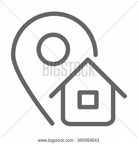 Address Line Icon, Logistics Symbol, Map Pointer With House Vector Sign On White Background, Home Ad