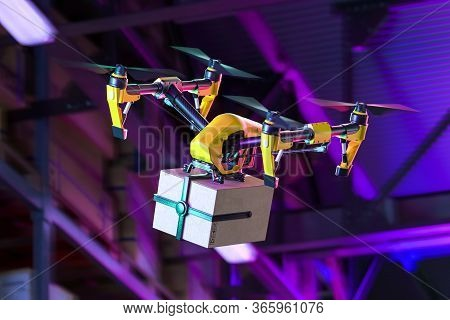 Drone Quadcopter Delivering Package To Consumer Flying Out From Warehouse Or Store. Contactless Deli