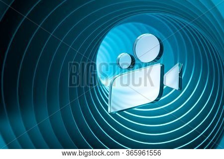 Movie Icon, Cinema Projector On Blue Background Near Abstract Geometric Arch. Online App For Watchin