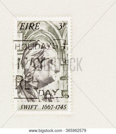 Seattle Washington - May 11, 2020: Irish Stamp Commemorating 300th Anniversary Of The Birth Of Jonat
