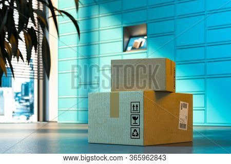 Close Up Of Parcels With Self-service Post Terminal Machine On Background. 3d Rendering.