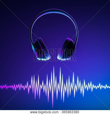 Headphones And Music Dynamic Waves On Blue Background. Sound Waves Template. Music Equalizer. 3d Ren