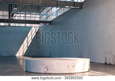 Concrete Showcase In White Hangar, Empty Factory Interior Or Empty Warehouse With Bright Concrete Fl