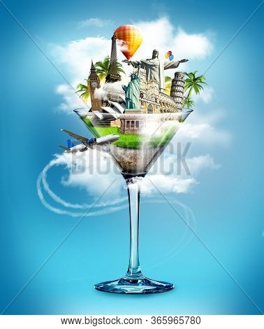 Glass With Different Famous World Monuments And Aircraft In Clouds Around It Isolated On Blue Backgr