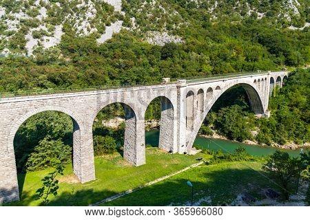 Solkan bridhe on the River Soca, Slovenia