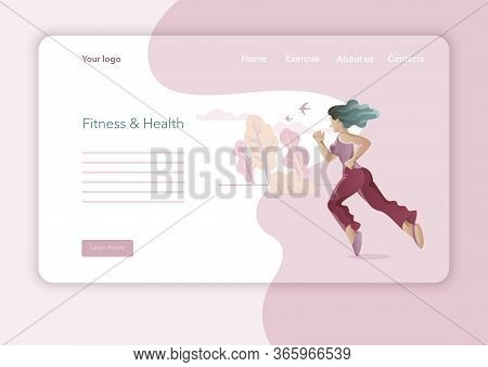 Creative Website Template Designs For Yoga Studio. Modern Flat Design Concept Of Web Page Design. Yo