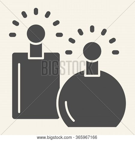 Perfumes Solid Icon. Two Perfume Fragrance Bottles Symbol, Glyph Style Pictogram On Beige Background
