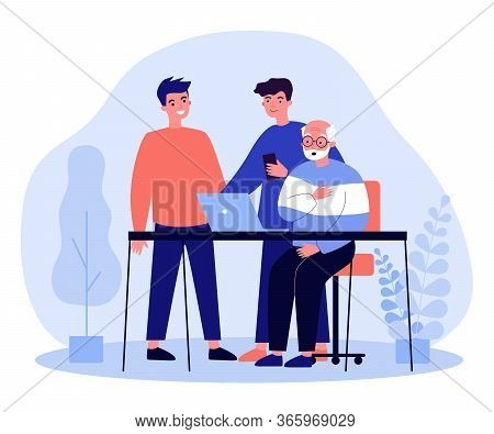 Two Young And One Senior Men Watching Movie. Guys Explaining To Granddad How To Use Laptop Flat Vect