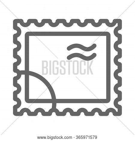 Postal Stamp Line Icon, Delivery Symbol, Paper Retro Post Stamp Vector Sign On White Background, Pos