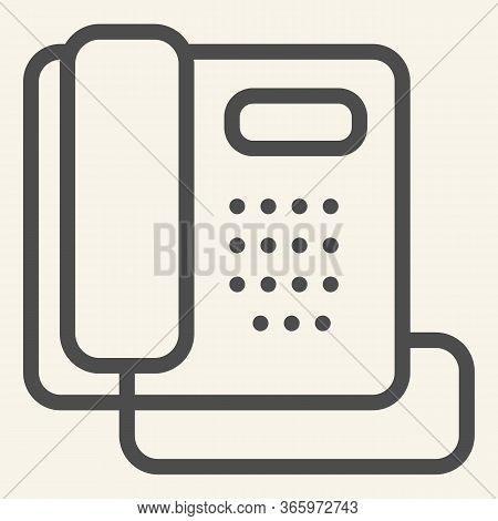 Phone Line Icon. Hotel Or Office Retro Telephone Symbol, Outline Style Pictogram On Beige Background