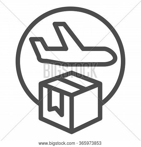 Airmail And Cardboard Package Line Icon, Delivery And Logistic Symbol, Air Freight Carrier With Parc