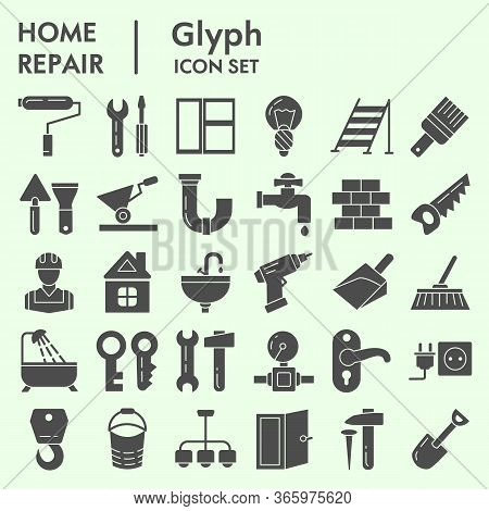 Home Repair Solid Icon Set, Renovation Symbols Set Collection Or Vector Sketches. Construction Signs