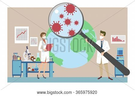 Coronavirus Research, Pandemic, Epidemiology Concept. Microbiologists Analyzing Covid Infection In L