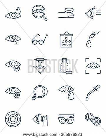 Ophthalmology Line Icon Set. Glasses, Eyedropper, Oculist Tools, Laser Surgery, Lenses. Vector Icon