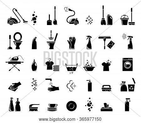 Cleaning Icons. Icon Set For Infographic Or Website. Cleaning Service And Disinfection. Housekeeping