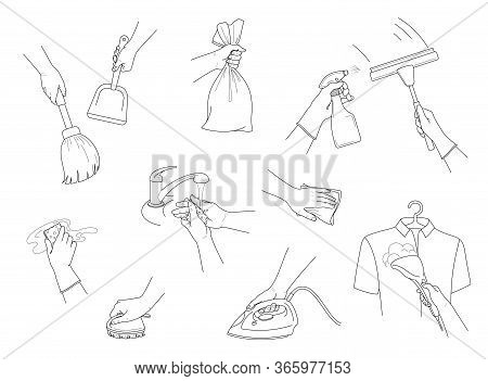 Hand Collection. Cleaning. Hands Holding Cleaning Tools. Housekeeping And Cleaning Service. Window C