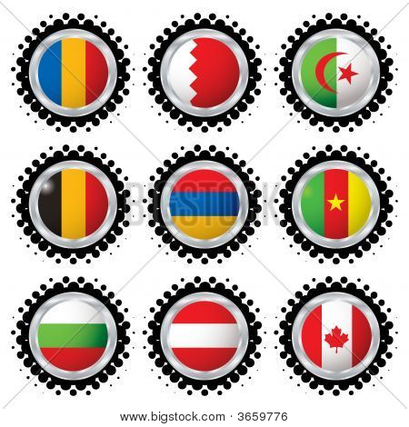 collection of nine flags from around the world with halftone dot poster