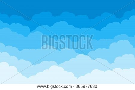 Blue Sky With White Clouds Landscape Background. Border Of Cloud Flat Cartoon Style. Cloudy Heaven S