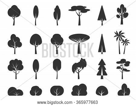 Glyph Tree And Bush, Silhouette Icon Set. Graphic Black Template Plant Forest, Park, Garden, Simple