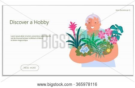 Landing Web Page Template With Houseplants Hobby. Elderly Lady Holds Home Flowers In Her Hands. Craz