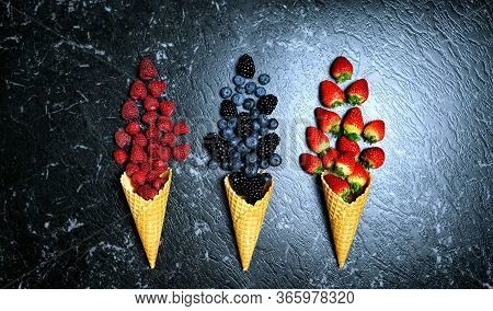 Summer Berries In Ice Cream Cones Creative Flatlay Top View