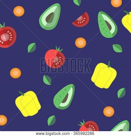 Seamless Texture. Whole Vegetables And Slices On A Dark Purple Background. Tomatoes, Carrots, Yellow