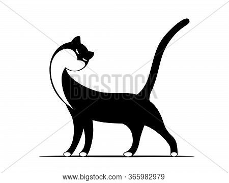 Standing Graceful Cat Drawn In Black And White Style. Rgb. Global Color