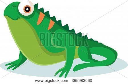 Cute Green Iguana Pet Vector Cartoon Illustration