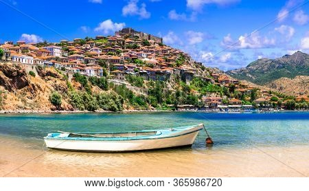 Traditional Greece. Lesvos island, view of town Molyvos (Mithymna) with old castle above