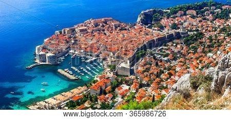 Splendid Dubrovnik town - pearl of Adriatic coast. Aerial view of old fortified town. Landmarks of Croatia